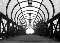 Bridge to Riverfront Park - Black and White