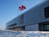 Clinton Presidential Library - Angled View in the Snow